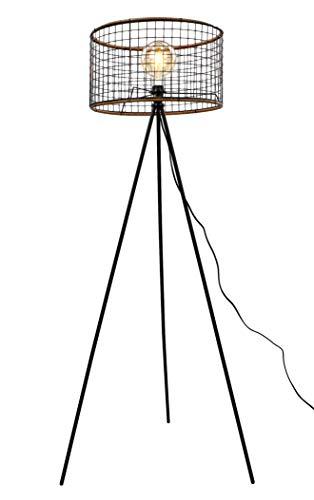 MaxxHome - Lámpara de pie (madera y metal, casquillo E27, 40 W, 146 cm)