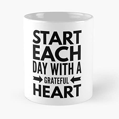 Start Each Day with A Grateful Heart - Taza de cerámica de mármol blanco