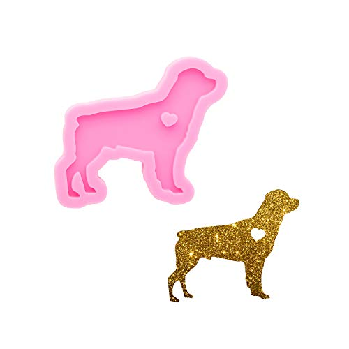 Super Shiny Dog Shape Resin Silicone Mold Resin Casting Pet Epoxy Resin Craft Silicone Molds DIY Jewelry Making Silicone Mould Polymer Clay Key Ring Pendant Mould