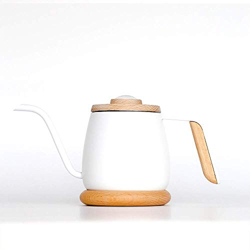 Ketel Coffee Pot Duurzame koffie Ketel Hand Made Koffiepot Thin Mouth Pot met houten handvat Thermometer Hand Drip thee en koffie Ketel for Inductie coffee pot (Color : White, Size : 360ml)