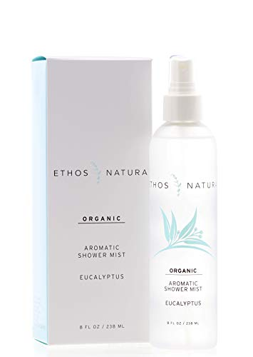 Ethos Natura Organic Eucalyptus Aromatic Shower Mist, Luxury Eucalyptus Oil Steam Shower Spray for Aromatherapy, Pure Organic Therapeutic Grade Essential Oil Spray to Create a Spa Room at Home (8 oz.)