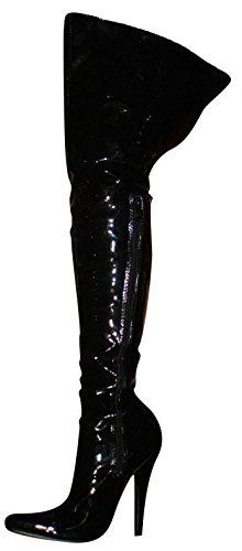 Erogance Lack High Heels Stiefel Overkneestiefel schwarz / 2526A EU 37