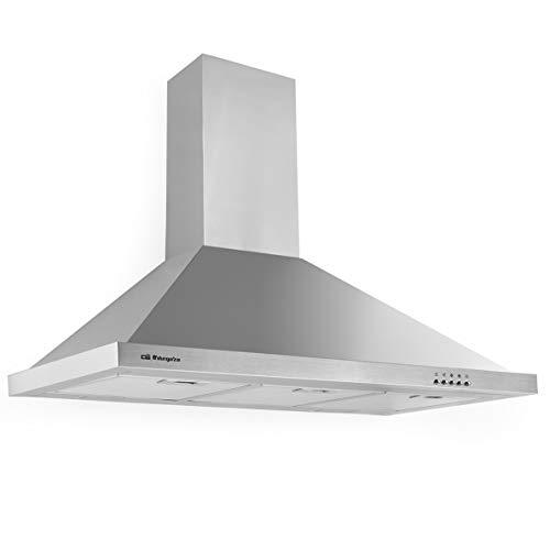 Orbegozo DS 48190 B IN - Campana extractora decorativa 90 cm, acero inoxidable, extracción 630 m3/h, 3 niveles de potencia, iluminación LED