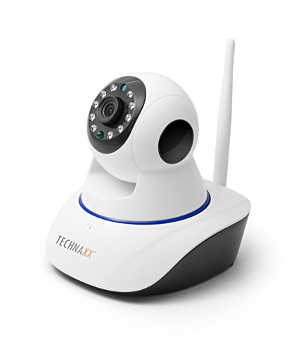Technaxx 4569 HD 720P TX-23+ Pan/Tilt Indoor IP-Überwachungskamera mit IR-Nachtsicht (Bewegungserkennung, Lautsprecher, Micro SD-Karten-Steckplatz) weiß