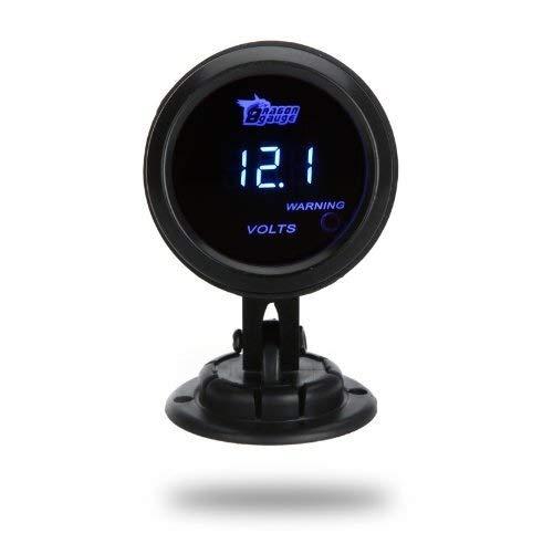 Yongenee Voltímetro Digital Medidor de Tensión Tensión de 52 mm 2 LCD de Coches Auto 0~15 V Negro Luz de Advertencia Instrumento