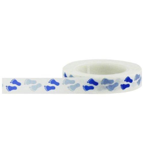 Papier décoratif Ruban adhésif 10 mm x 15 m Ruban Little B Empreintes bébé, Bleu