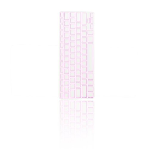 TOP CASE Silicone Cover Skin Compatible with Apple Wireless Keyboard with TOP CASE Mouse Pad (Apple Wireless Keyboard, Square Pink)