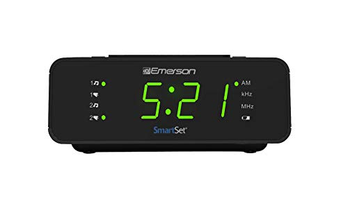 "Emerson SmartSet Alarm Clock Radio with AM/FM Radio, Dimmer, Sleep Timer and .9"" LED Display, CKS1900"