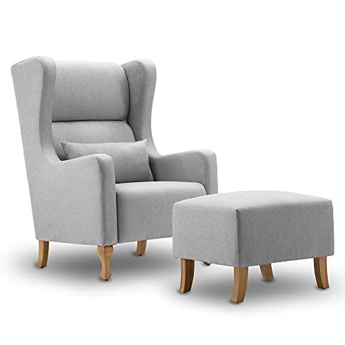 MCombo Ohrensessel mit Hocker+Kissen, Fernsehsessel Relaxsessel Polstersessel für Wohnzimmer, Stoff, 7266 (Grau)