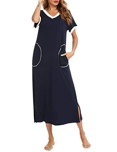 Doaraha Camisones Largos Mujer Camisón Suave Vestido Pijama Ropa de Dormir con Bolsillo Algodón Talla Grande Verano Cuello en V Manga Corta Loungewear (Azul Profundo, XL)