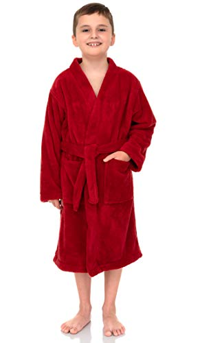 TowelSelections Boys Robe, Kids Plush Kimono Fleece Bathrobe