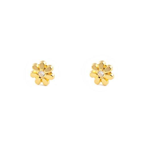 Orecchini per Bambini fiore, oro giallo 9k (375)