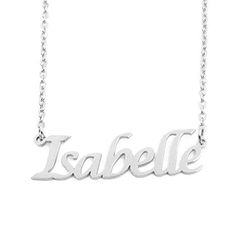 Kigu Isabelle Personalized Name Necklace Adjustable Chain - Silver Tone Packaging
