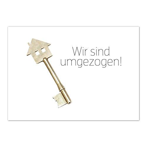 16 x Postkarten für Umzug - Motiv Schlüssel - Wohnungswechsel, Einzug, Auszug, neue Adresse, Karte