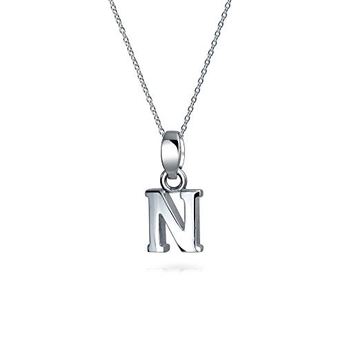 Abc Capital Block Letter Alphabet N Initial Pendant Necklace For Teen For Women 925 Sterling Silver