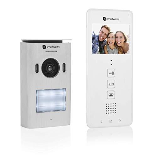 """Sistema de videoportero Smartwares DIC-22112, 480p, Monitor LCD de 3,5"""" (8,9 cm), Cámara de orientable 15°, Fácil instalación, Resistente al agua, 12 melodías, Visión nocturna"""