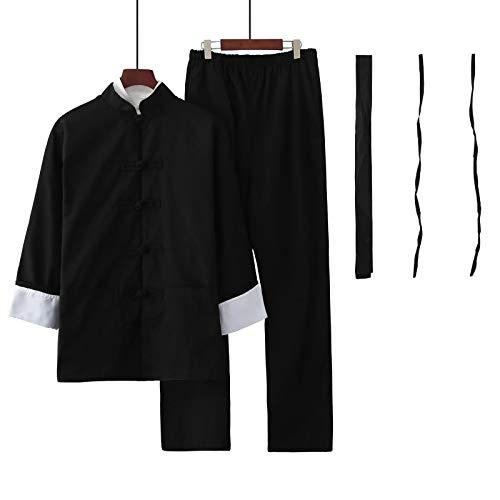 Marciales Traje de Tai Chi,Hombres Mujeres Chino Indumentaria Kung Fu Wing Chun Taekwondo Algodn Ropa de Entrenamiento Sets,Ropa Tradicional de Tai Chi p(Color:Dos Piezas,Size:Height 160CM)