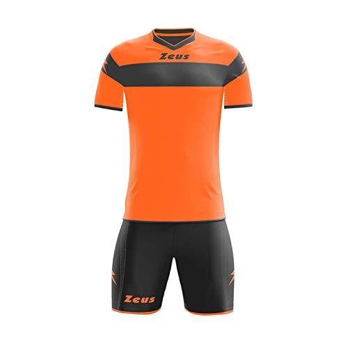 ZEUS–Fußball-Trikot + Shorts Apollo, ARANCIO FLUO-NERO