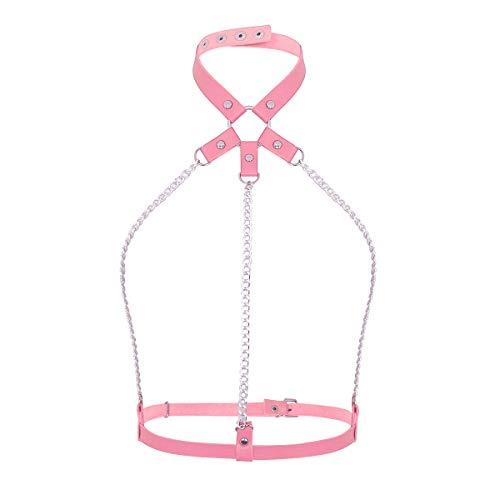 Agoky Damen Neckholder Dessous sexy Brust Harness Kette Leder Choker Halskette Taille Gürtel Rosa One Size