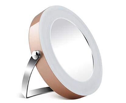 3X Grossissement Miroir de Maquillage Portable Rond Support Miroir Beauté Voyage Blanc