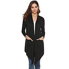 Abollria Womens Cardigans Autumn Winter Lightweight Long Sleeve Waterfall Open Front Midi Long Cardigan with Pockets