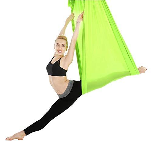 Broco Columpio Yoga Aereo, 2,8 m Duradero elástico aérea Hamaca Columpio de Yoga Entrenamiento de la Aptitud de Accesorios Verde