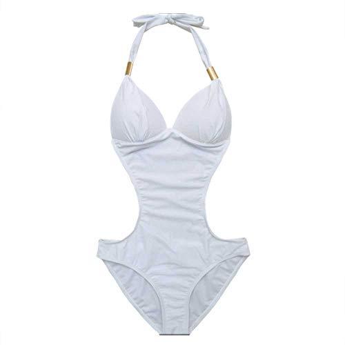 YANGPANGZI Weißes Dreieck Jumpsuit weibliche Mode Hot Spring Urlaub Schwimmen war dünn und gesammelt, um den Hals europäischen und amerikanischen Badebekleidung Bikini zu hängen