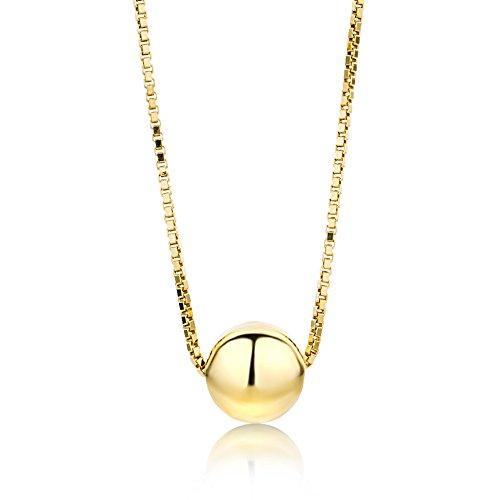 Miore Goldkette mit Kugel für Damen aus 9 Karat 375 Gelbgold Halskette 45 cm lang