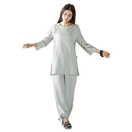 KSUA Mujer Zen Meditación Uniforme de Lino de algodón Tai