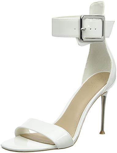 Guess Katrinna2/Sandalo (Sandal)/Lea, Zapatos con Tacon y Correa de Tobillo Mujer, Color Blanco, 39 EU