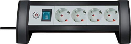 Brennenstuhl Premium-Office-Line, Steckdosenleiste 4-fach für den Schreibtisch (mit Schalter und 1,8m Kabel, Made in Germany) schwarz/grau