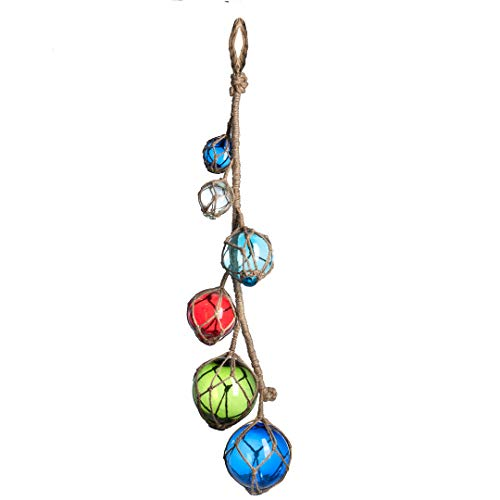 Nautical Crush Trading Multi Color Glass Float On A String | Mutli Pack Fishing Buoy Balls 2-4 | 6 Floats | Perfect For Beach Weddings Or As Christmas Ornaments