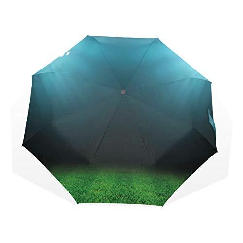 LASINSU Regenschirm,Digitale Nacht im Stadion Print,Faltbar Kompakt Sonnenschirm UV Schutz Winddicht Regenschirm