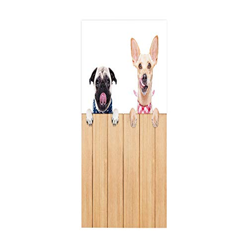 PVC Waterproof Door Sticker, Animal Puppy Home Decoration Door Sticker, self-Adhesive Wall Sticker, Easy to Install, Environmentally Friendly and Durable