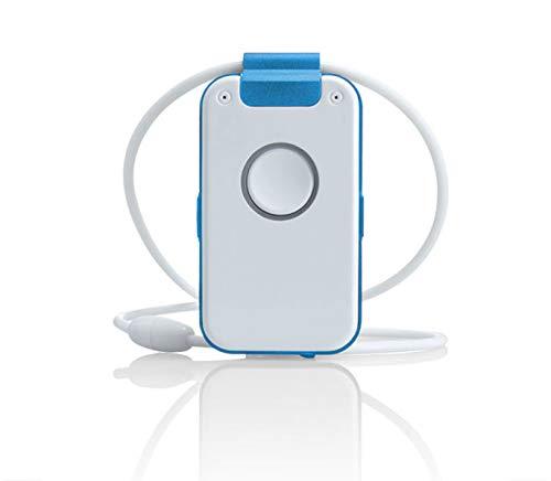Wantec WX32 DECT Notrufsender mit Sprachbegleitung, Sturzerkennung, Erinnerungsfunktion, Rauchalarmerkennung und Sprach-Assistent, Blau
