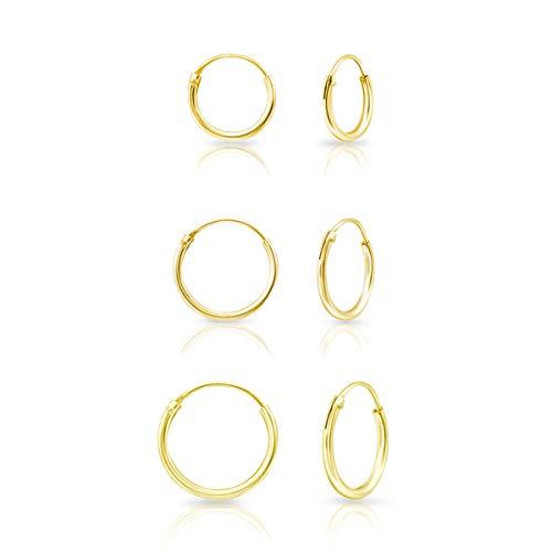 DTPsilver® 3 Paires de Boucles d'oreilles MINI Créoles en Argent Fin 925 Plaqué Or Jaune - Épaisseur 1.2 mm, Diamètre 10, 12, 14 mm