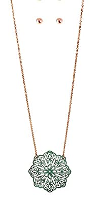 Rosemarie Collections Women's Fashion Jewelry Set Mandala Flower Pendant Necklace