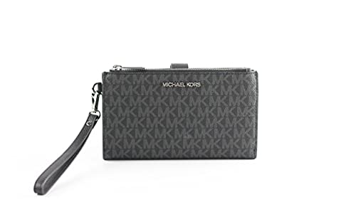 """Signature PVC Snap closure with dual zip compartment Detachable 7""""L leather wrist strap One ID window pocket Six credit card slots and two slip pockets One phone pocket, fits iPhone 7 Plus or similar & smaller smartphones One bill compartment Measure..."""