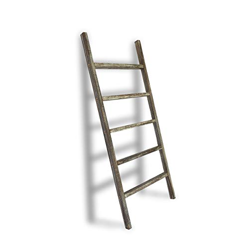TNT DYNAMICS 48inch Wall-Leaning Blanket Ladder for Your Living Room- Decorative Rustic Farmhouse White Wash Wooden Quilt Rack- Towel Holder