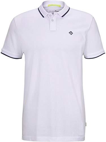 TOM TAILOR Denim Herren Poloshirt Two Tone Piquet - Regular Fit Grösse S M L XL XXL Blau Weiss 100% Baumwolle, Größe:M, Farbe:White (20000)