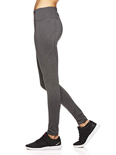 Reebok Women's Leggings Full Length Performance Compression Pants - Athletic Workout Leggings for Women for Gym & Sports - Formula Charcoal Heather Grey, Large