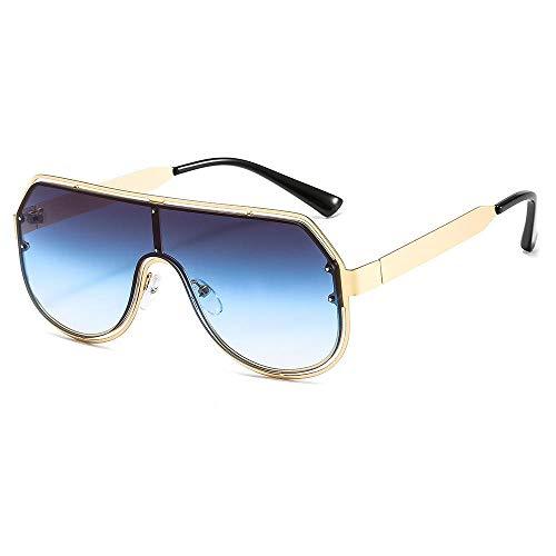 Elegante bobina de metal gran marco gafas de sol hombres y mujeres sunshade-marco de oro en la película azul gris