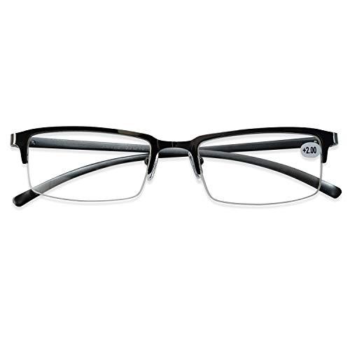 KOOSUFA Lesebrille Herren Damen Metall Halbrahmen Brille Halbrandbrille Lesehilfe Sehhilfe Federscharnier Vintage Arbeitsplatzbrille Schwarz Grau 1.0 1.5 2.0 2.5 3.0 3.5 4.0 (Grau, 2.5)