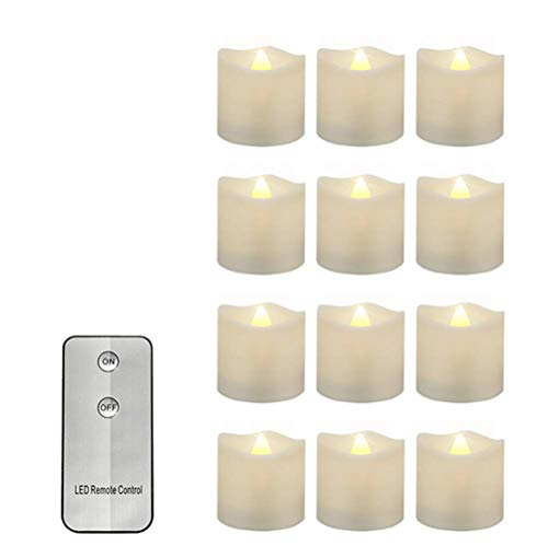 LED Candles,12 Pack Remote Controlled Ivory Votive Imitate Burning Candles Flameless Pillar LED Night Candle Shape Light with Timer Batteries,Warm White