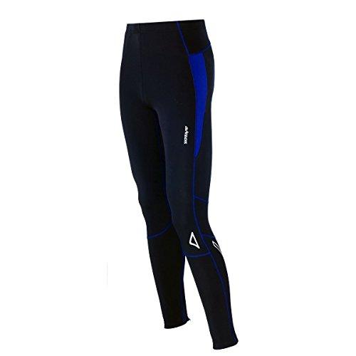 AIRTRACKS Invierno T/Running Tight–Pantalón Largo Deportivo Pro multifunción//–Pantalones térmicos transpiratoria Activo/reflectores, otoño/Invierno, Unisex, Color Negro/Azul, tamaño XXXL