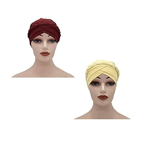 RKRCXH 2 Piezas Gorros Dormir Turbante Mujer Elástico Pañuelos Cabeza Mujer Turbante para Mujer Pérdida de Pelo turbantes Mujeres envolturas cabezaa(Color:1)