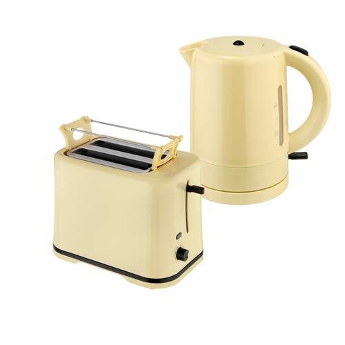 Efbe-Schott Frühstücksset WK 1080 + TO 1080 Wasserkocher 1 L und 2-Scheiben-Toaster Vanill-Gelb
