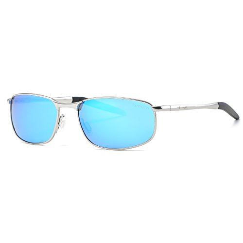 kimorn Polarisierte Sonnenbrille Herren Retro Rechteckig Rahmen Klassisch Unisex Gläser K0535 (Silber&Blau)