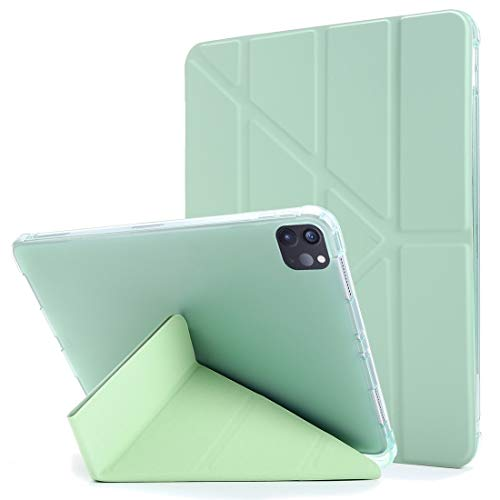 LESLEY LM For iPad Pro 11 (2020/2018) Multi-folding Horizontal Flip PU Leather + Shockproof TPU Case with Holder & Pen Slot 2021 NEW MODEL (Color : Green)