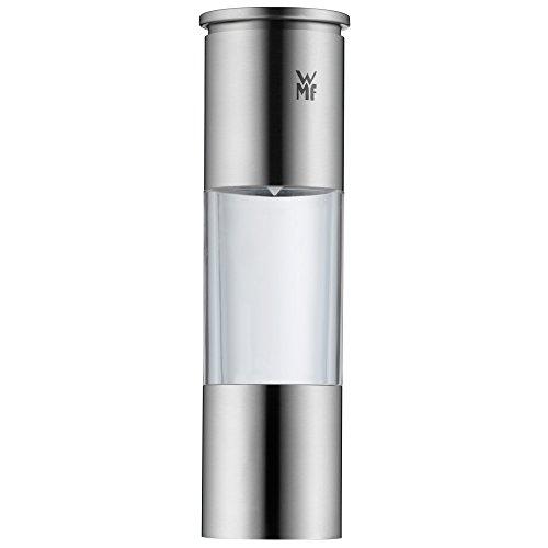 WMF Salz und Pfeffermühle 18 cm, unbefüllt, Cromargan Edelstahl, Glasbehälter, Keramikmahlwerk, Mühle für Salz, Pfeffer, Chillischoten